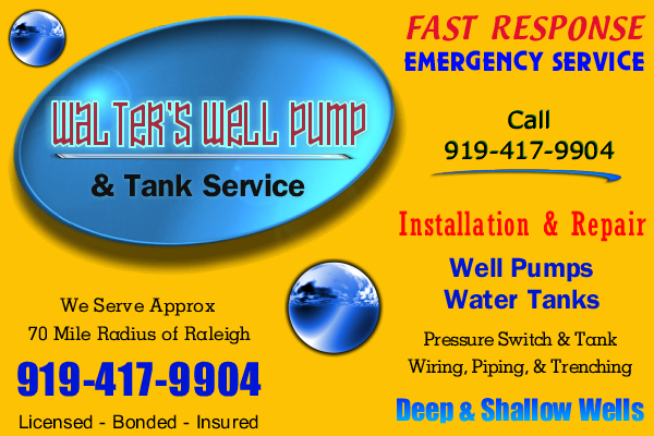 Water Well Pump Repair Chapel Hill, NC (919) 417-9904